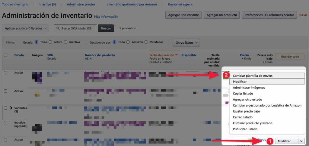 Cambiar plantilla de envíos en Amazon 1