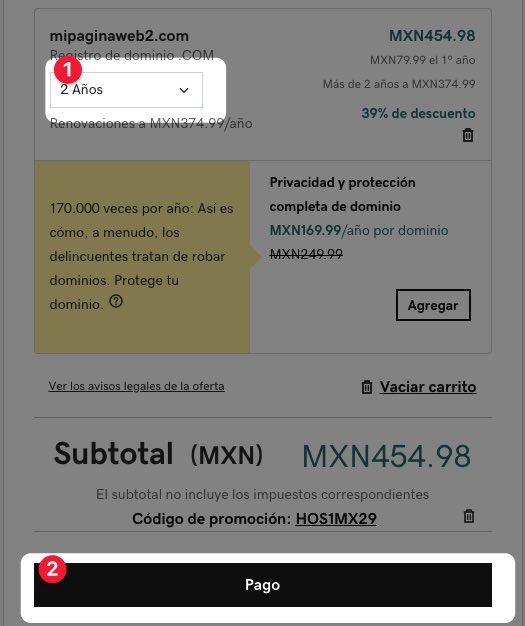 Total de la compra de un dominio con GoDaddy