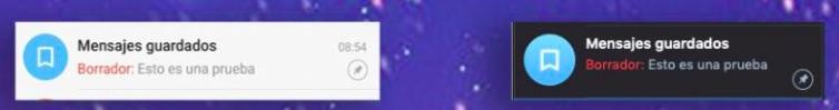 Función de telegram: Borrador de mensajes