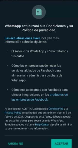 Nuevas políticas de privacidad de WhatsApp
