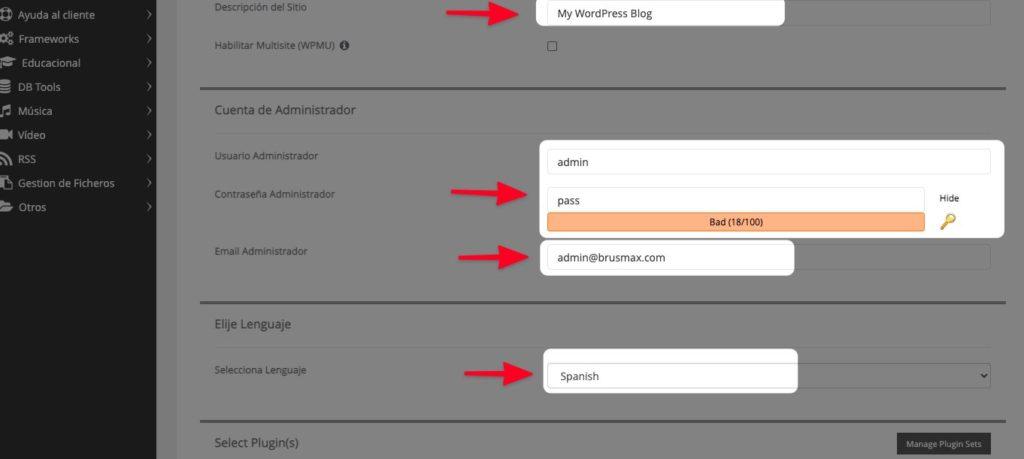 Crea los accesos para acceder a WordPress