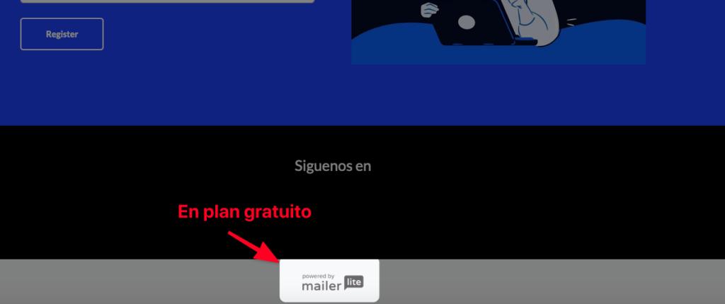 Marca de agua y logo de MailerLite en plan gratuito