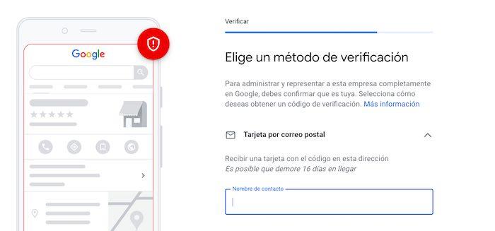 Elige un método de validación de tu negocio en google