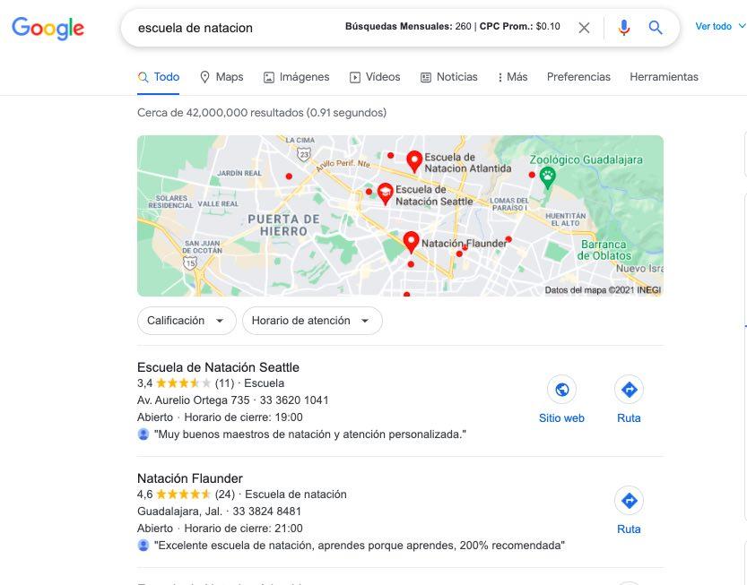 Resultados de búsqueda de google maps