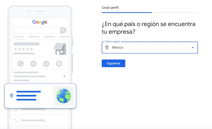 Selecciona el país donde esta tu empresa - google
